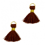 Perlen Quaste Ibiza Style 1cm Gold-chocolate brown