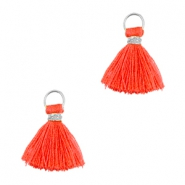 Perlen Quaste Ibiza Style 1cm Silber-vermillion coral red orange