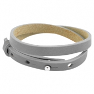 Cuoio Armband Leder doppel 8 mm für 12 mm Cabochon Greige taupe