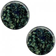 20 mm flach Cabochon Polaris Elements Stardust Dark emerald blue zircon
