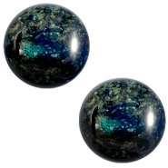 12 mm classic Cabochon Polaris Elements Stardust Dark emerald blue zircon
