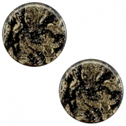 12 mm flach Cabochon Polaris Elements Stardust Jet black