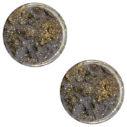 12 mm flach Cabochon Polaris Elements Stardust Dark grey