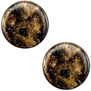 7 mm flach Cabochon Polaris Elements Stardust Dark brown