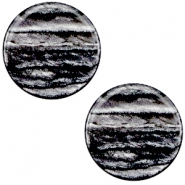 7 mm flach Cabochon Polaris Elements Sparkle dust Anthracite grey