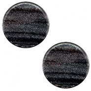 7 mm flach Cabochon Polaris Elements Sparkle dust Anthracite black
