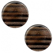 12 mm flach Cabochon Polaris Elements Sparkle dust Dark brown