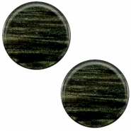 7 mm flach Cabochon Polaris Elements Sparkle dust Dark classic green