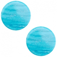 20 mm flach Cabochon Polaris Elements Sparkle dust Caribbean blue