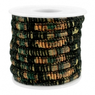 Trendy gesteppte Kordel 6x4mm Multicolor black-copper-dark green