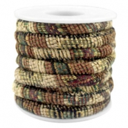 Trendy gesteppte Kordel 6x4mm Multicolor beige-brown-green