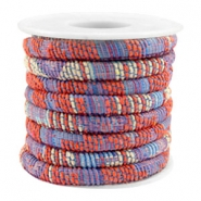 Trendy gesteppte Kordel 6x4mm Multicolor coral red-blue