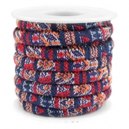 Trendy gesteppte Kordel 6x4mm Multicolor dark blue-red-orange