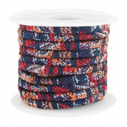 Trendy gesteppte Kordel 4x3mm Multicolor dark blue-red-orange