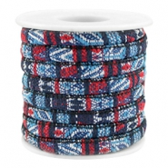 Trendy gesteppte Kordel 6x4mm Multicolor dark blue-red