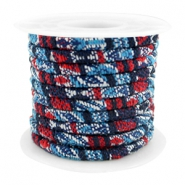 Trendy gesteppte Kordel 4x3mm Multicolor dark blue-red