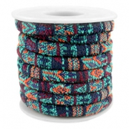 Trendy gesteppte Kordel 6x4mm Multicolor emerald-aubergine-orange