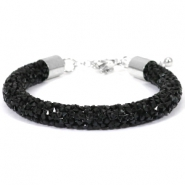 Crystal diamond Armbänder 8 mm Jet black