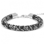 Crystal diamond Armbänder 8 mm Jet black-labrador silver