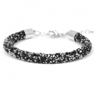 Crystal diamond Armbänder 7 mm Jet black-labrador silver