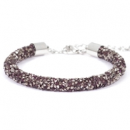 Crystal diamond Armbänder 7 mm Amethyst-anthracite