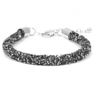 Crystal diamond Armbänder 7 mm Black diamond-anthracite
