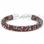 Crystal diamond Armbänder 8 mm Siam red-anthracite