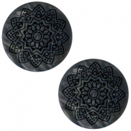 12 mm flach Cabochon Polaris Elements Mandala print matt Black anthracite