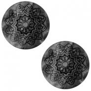 20 mm flach Cabochon Polaris Elements Mandala print matt Black silver