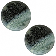 20 mm flach Cabochon Polaris Elements Mandala print matt Black turquoise