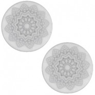 12 mm flach Cabochon Polaris Elements Mandala print matt White grey
