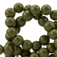 4 mm Glasperlen half matt Army green