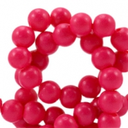 6 mm Glasperlen half matt Raspberry pink