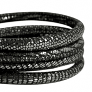 DQ Nappa Leder gesteppt reptile 6x4mm Black-anthracite silver