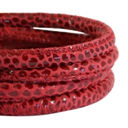 DQ Nappa Leder gesteppt reptile 5x4mm Red-aubergine
