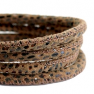 DQ Nappa Leder gesteppt reptile 5x4mm Leopard brown