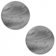 7 mm flach Cabochon Polaris Elements Mosso shiny Silver night