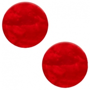 7 mm flach Cabochon Polaris Elements Mosso shiny Scarlet red