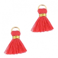 Perlen Quaste Ibiza Style 1.5cm Gold-vermillion coral red orange