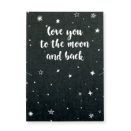 "Schmuck Wunschkarte ""LOVE YOU TO THE MOON AND BACK"" Schwarz-weiss"