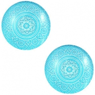 Cabochon Basic Mandala 20mm Deep sky blue