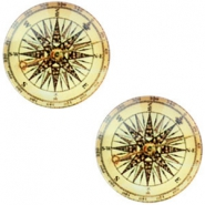 Cabochon Basic Kompass 20mm Vintage-light golden yellow