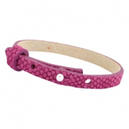 Cuoio Armbänder Leder Reptile 8 mm für 12 mm Cabochon Fuchsia orchid rose