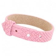 Cuoio Armbänder Leder Reptile 15 mm für 20 mm Cabochon Candy pink