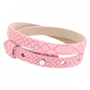 Cuoio Armbänder Leder Reptile doppel 8 mm für 12 mm Cabochon Candy pink