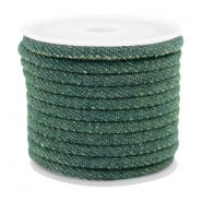 Trendy gesteppte Kordel Denim 4x3mm Dark emerald green