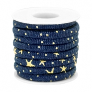 Trendy gesteppte Kordel Denim 6x4mm Dark midnight blue-gold