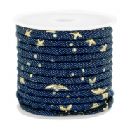 Trendy gesteppte Kordel Denim 4x3mm Dark midnight blue-gold