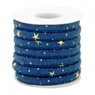 Trendy gesteppte Kordel Denim 6x4mm Midnight blue-gold
