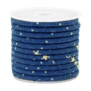 Trendy gesteppte Kordel Denim 4x3mm Midnight blue-gold